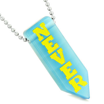 Never Give Up Reversible Amulet Arrowhead Yin Yang Sky Blue Simulated Cats Eye Pendant 22 inch Necklace