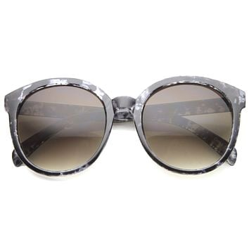 Women's Oversize Round Horned Rim Marble Sunglasses 9970