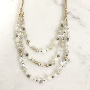 Quasar Beaded Layered Necklace in Ivory