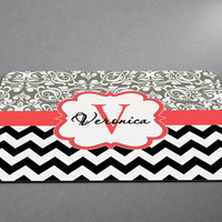 Chevron Floral Monogram Name and letter any color! Chevron Stripes Monogram Mousepad Custom Personalized Family Pad