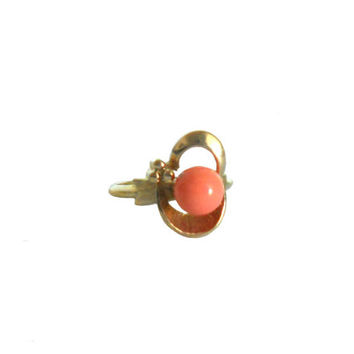 "Vintage Statement Ring 1970s Avon Coral Colored Stone ""Spindrift"" Design - Gold Tone and Adjustable"