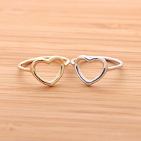 OPEN HEART RING, in sterling silver(gold,silver)   girlsluv.it - handmade jewelry collection, ETSY, Artfire, Zibbet, Earrings, Necklace