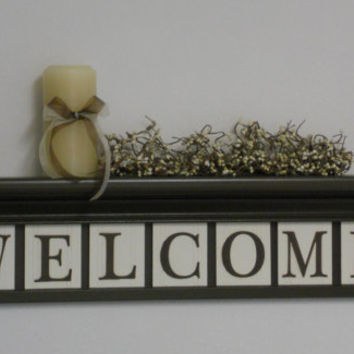 """WELCOME Entryway Shelf - Decor Signs - 30"""" Shelf with 7 Wooden Letter Plaques - WELCOME"""