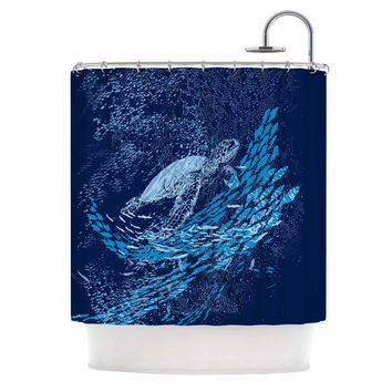 "Frederic Levy-Hadida ""The Turtle Way"" Aqua Blue Shower Curtain"