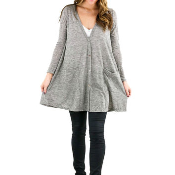 Women Loose Jacket Button Down Tunic Shirt Pocketed V Neck Long Sleeves Casual Knitted Long Tees Women Grey SM6