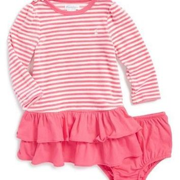 Infant Girl's Ralph Lauren Stripe French Terry Dress & Bloomers,