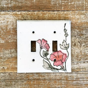 Light Switch Cover Double Enamel Light Switch Cover Mid Century Floral Light Switch Plate Vintage Double Light Switch Cover Handcrafted Boho
