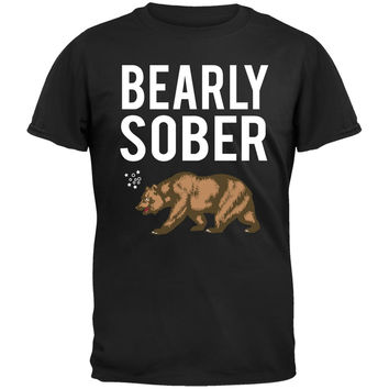 Bearly Sober Bear Black T-Shirt