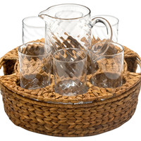 Classic Terrace Beverage Set w/ Tray, Glassware Sets w/ Decanters/Shakers/Pitchers