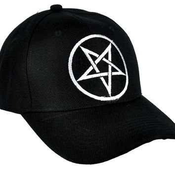 Grey Inverted Pentagram Hat Baseball Cap Occult Metal Clothing