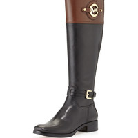 Stockard Two-Tone Leather Riding Boot - MICHAEL Michael Kors