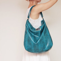 BOHO 3 / Large teal snake  leather daily hobo shoulder bag with zipper - Ready to Ship