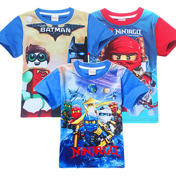2017 Summer Children's Clothing Baby Boys Girls T-shirt Legoe batman Ninja Ninjago Cartoon Trolls T-shirt Kids Tops Tees T Shirt
