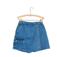 90s Blue Jean Culottes Skirt Mini Denim Wrap Skirt Denim Shorts Front Side Pockets Boho Preppy Grunge Vintage Womens Small Medium Size 6