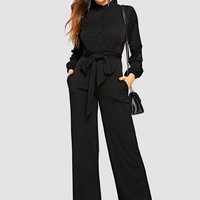 Button Front Belted Wide Leg Shirt Jumpsuit
