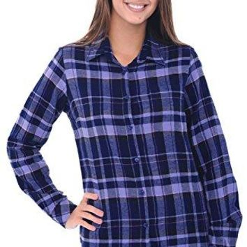 Alexander Del Rossa Womens Flannel Shirt ButtonDown Cotton Boyfriend Top
