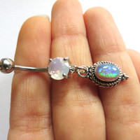 Opal Belly Button Jewelry- Sterling Silver 925 Crystal Charm Dangle Navel Piercing Pink Blue Green White Bar Barbell Ring