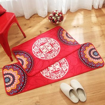 Autumn Fall welcome door mat doormat MDCT Joyous Red Floor Mats Rugs Chinese Style Blessing Entrance Welcome s Lover Wedding Living Room Kitchen Carpet Mats AT_76_7