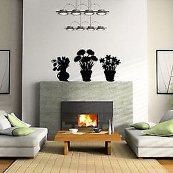 Flower Pots Wall Art Sticker Decal  Ar271