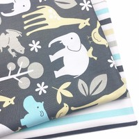 Cotton Fabric Grey Elephant Animal DIY Sewing Patchwork Quilting Tissue Tilda For Baby Bedding Home Textile Pillows Material