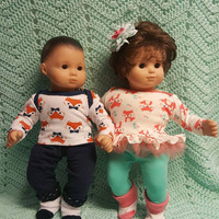 "Twins Baby Doll Clothes Will fit Bitty Baby® ""Fox Friends"" 15 inch Boy Girl Twins Set doll outfits Q11"