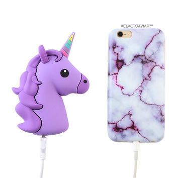 2000 mAh Portable Power Bank Phone Charger - Purple Unicorn