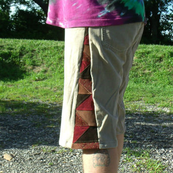 "38"" Patchwork Corduroy Shorts  Brown Pants Hippie Handmade Festival Heady  Kynd Valley Mens"