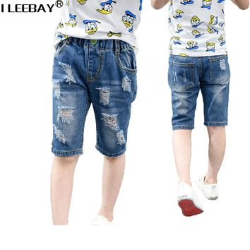 Summer Fashion Children Shorts for Boys Broken Holes Children Casual Jeans Baby Boys Pants Kids Boy Jeans Boy Denim Trousers