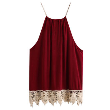 Fankris Summer Women Lace Crop Tops Trimmed Tasselled Drawstring Tank Tops Wine Red T shirt Female Halter Top Cropped Feminino