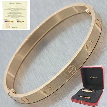 Unworn 2016 18k Rose Gold Cartier Love Screw Bangle Bracelet Box Papers 17