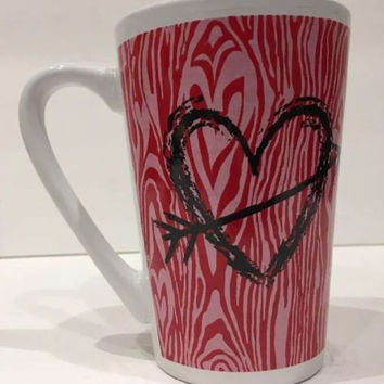Valentine's MTY International Center Arrow Heart Mug Red Pink Abstract Hearts