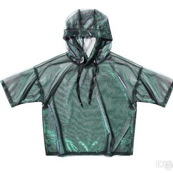 2018 The spring and summer of individual sets of silk head fashion color Dengying hooded T-shirt sunscreen clothing female kanye