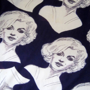 Vintage 70s MARILYN MONROE Novelty FABRIC Nylon Knit Collectible Disco Era 1.5 yards