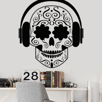 Vinyl Wall Decal Art Mexican Skull Flowers Musical Headphones Stickers Unique Gift (1285ig)