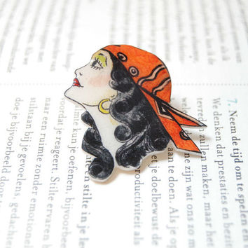 Hand drawn pirate lady brooch. Gypsy lady brooch. Hand painted sailor jerry pin.