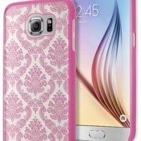 Galaxy S6 Phone Case, Bastex Hard Protective Pink Damask Design Case Cover for Samsung Galaxy S6 G923