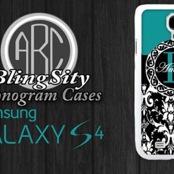 Turquoise Black Damask Galaxy S5 Case Monogram  Personalized Cover S3 S4 Note 2 3 4