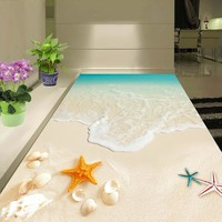 Custom 3D Floor Wallpaper Waterproof For Bathroom Beautiful Seascape Beach Waves Shell Starfish Wall Mural Non-slip Wall Papers