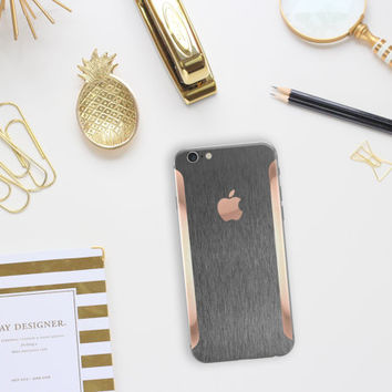 Platinum Edition Brushed Metal with Rose Gold Detailing Vinyl Skin Decal for the iPhone iPhone 6/6s, iPhone 6/6s Plus