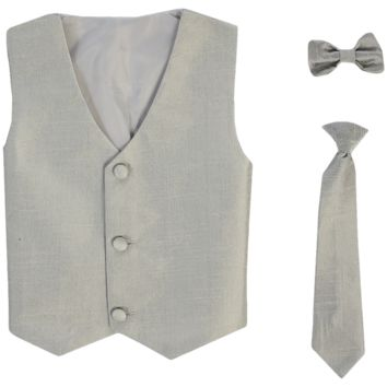 Silver Poly-Silk Boys Vest & Tie Set 3M-14