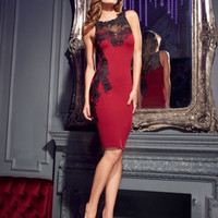 Lipsy Lace Appliqué Red Mesh Dress