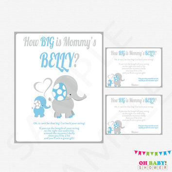 How Big is Mommy's Belly, Blue Elephant Baby Shower Games, Baby Shower String Game, Blue Elephant Baby Boy, Printable Instant Download ELLBG