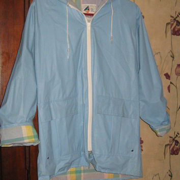 VINTAGE Hooded preppy hipster Vinyl pvc sz small Raincoat jacket
