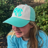Monogrammed Mint White Baseball Cap Hat  Font shown NATURAL CIRCLE in Sea Foam