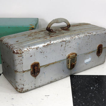 """Union Steel Tackle Box """"WaterTite"""" . Double Trays . Vintage Utility Chest . Old Tool Box . Vintage Industrial • Mid Century"""