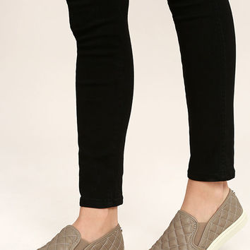 Steve Madden Ecntrcq Grey Quilted Slip-On Sneakers