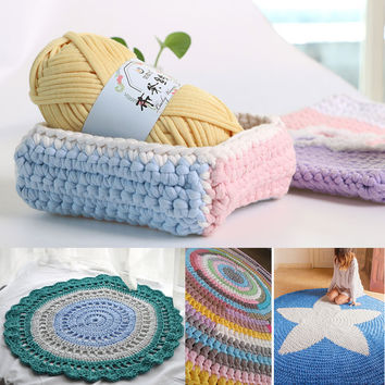 100g/Pcs DIY Crochet Cloth Fancy Yarn Lanas Para Tejer Hand-knit Rugs Woven Thread Cotton Thick Wool Crocheted Basket Blanket