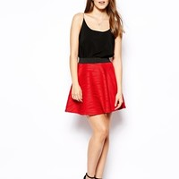 AX Paris Skater Skirt in Ripple Fabric - Red
