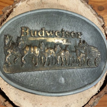 Vintage Oval Brass Budweiser Clydesdale Belt Buckle Great Retro Accessory Made in the USA