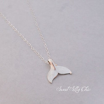Sterling Silver Whale Tail Necklace, Nautical Marine Ocean Jewelry, Whale Tail Charm, Short Sterling Silver Necklace